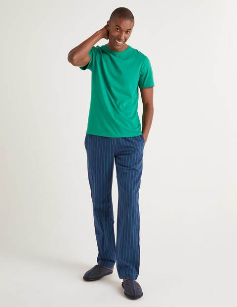 Brushed Cotton Pyjama Bottoms - Navy/Green Baize Stripe