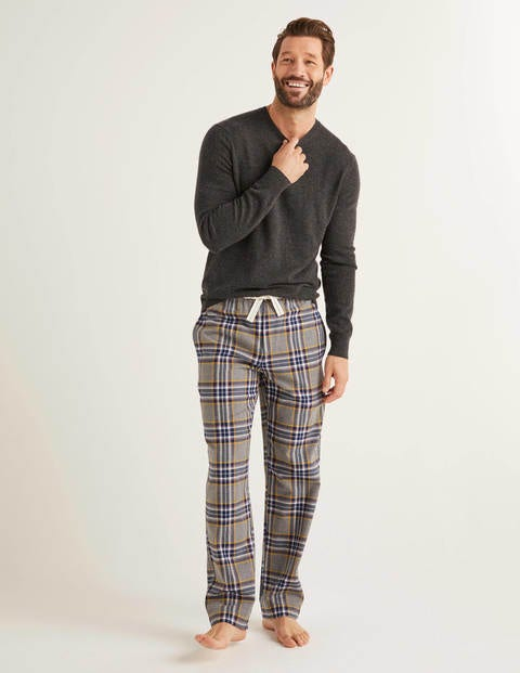 Brushed Cotton Pyjama Bottoms - Grey Marl Multi Check