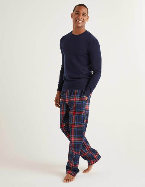 Brushed Cotton Pyjama Bottoms - Navy Multi Check
