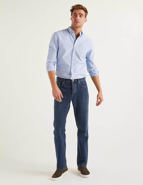 Straight Leg Jeans - Mid Wash Denim