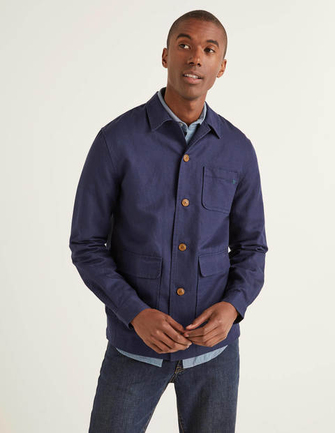 Cotton Linen Overshirt - Light Navy