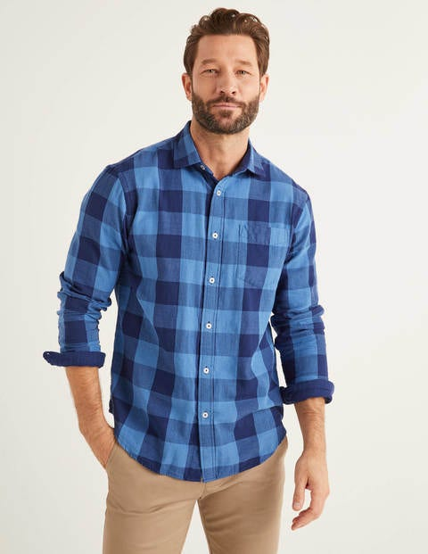 Doublecloth Shirt - Navy Gingham