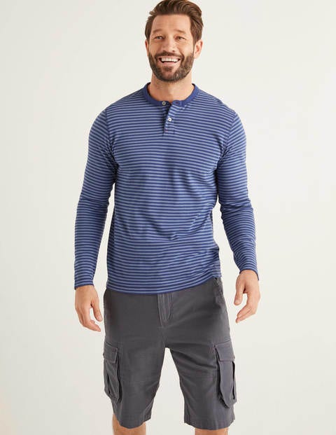 Long Sleeve Henley - Harbourside Blues Stripe