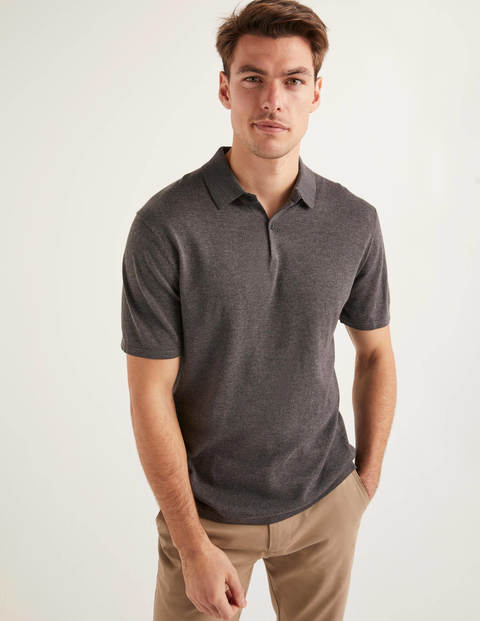 Finsbury Knitted Polo - Charcoal Marl
