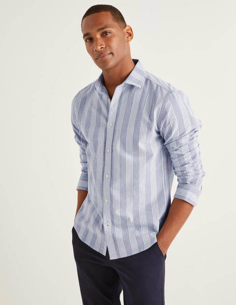 Slim Fit Stripe Shirt - Violet Blue Engineered Stripe