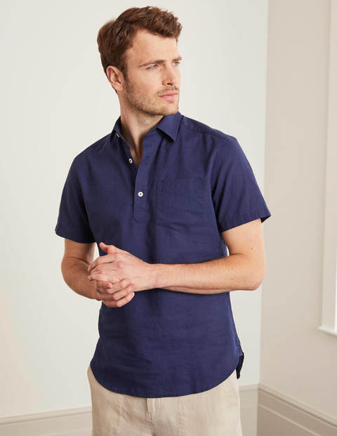 Linen Cotton Popover - Light Navy