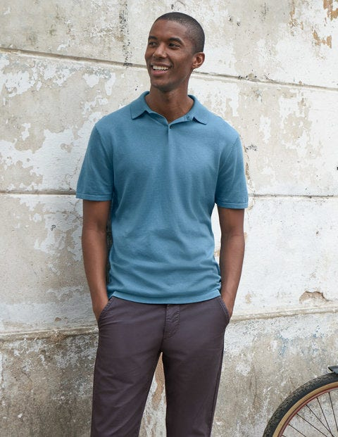 Finsbury Knitted Polo - Storm Blue