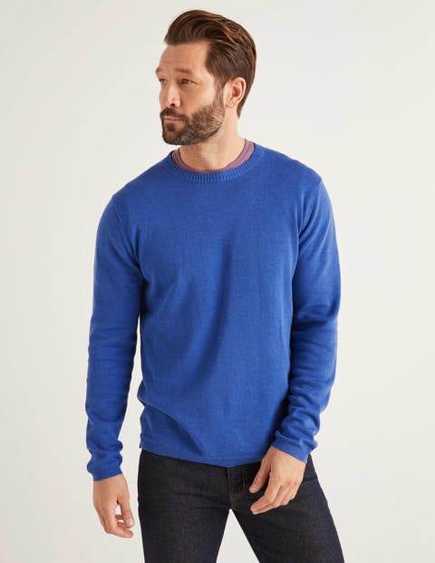 Haddon Cotton Linen Crew - Bold Blue