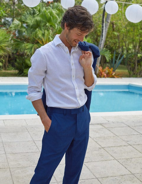 Belgravia Linen Trousers - Blues Herringbone