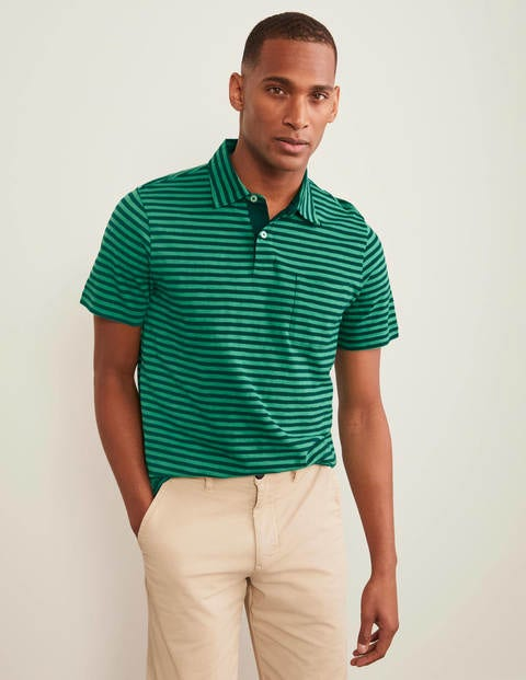 Slub Stripe Polo - Greens Stripe