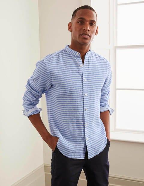 Linen Grandad Shirt - Coastal Blue Stripe