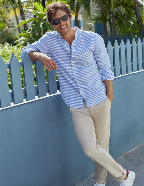 Grandad Linen Shirt - Coastal Blue Stripe