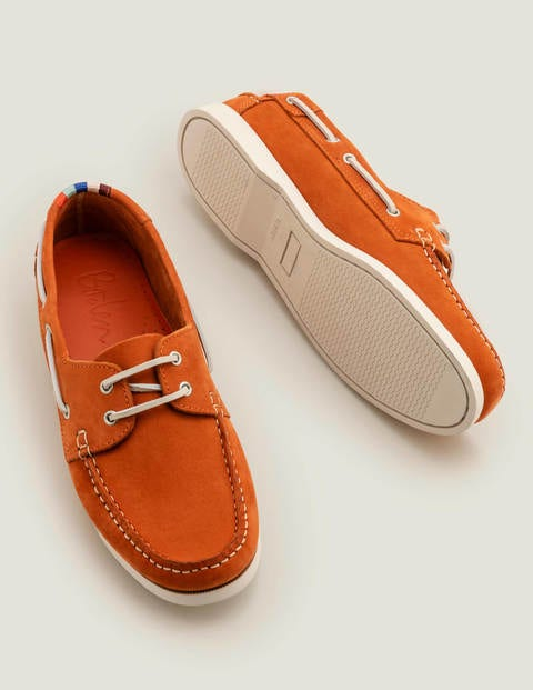 Boat Shoes - Orange Red Leather