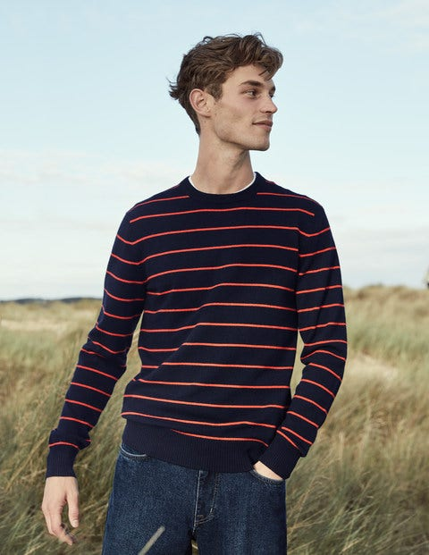 Cashmere Crew Neck - Navy/Orange Stripe