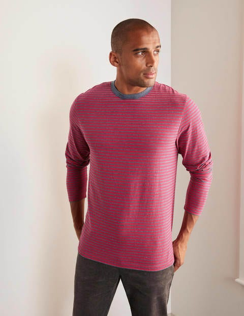 Long Sleeve Stripe T-shirt - Magenta Pink/Naval Blue Marl