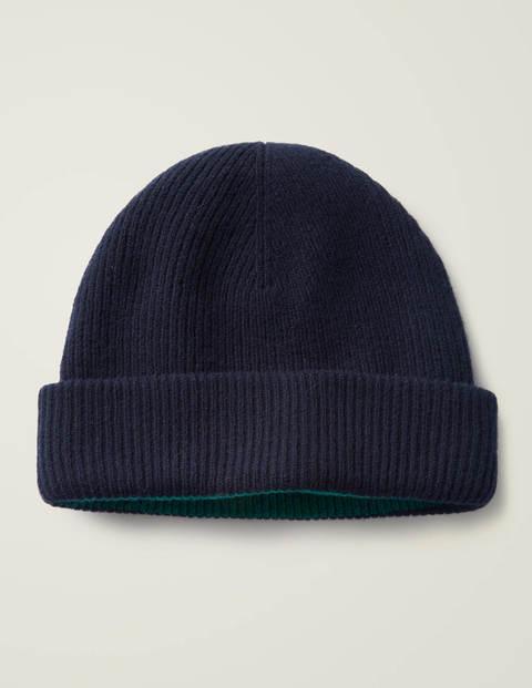 Reversible Merino Hat - Navy/Linden Green