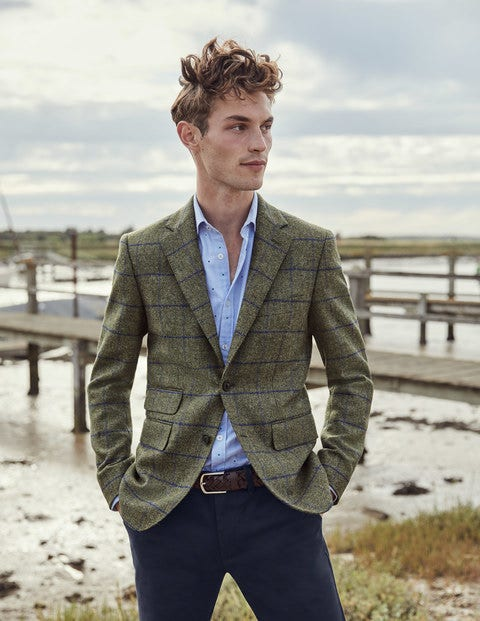 Caldey British Tweed Blazer - Soft Green Windowpane