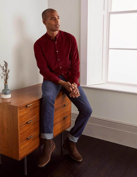 Grandad Cord Shirt - Merlot Red