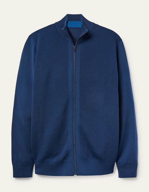 Bury Merino Zip Through Jacket - Light Navy