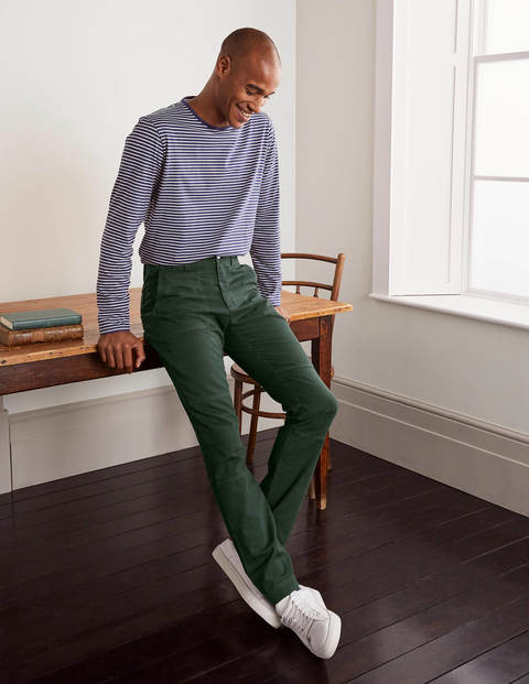 Relaxed Herringbone Trousers - Dark Emerald Green