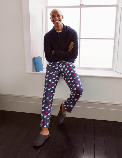 Printed Pajama Bottoms - Navy Stag