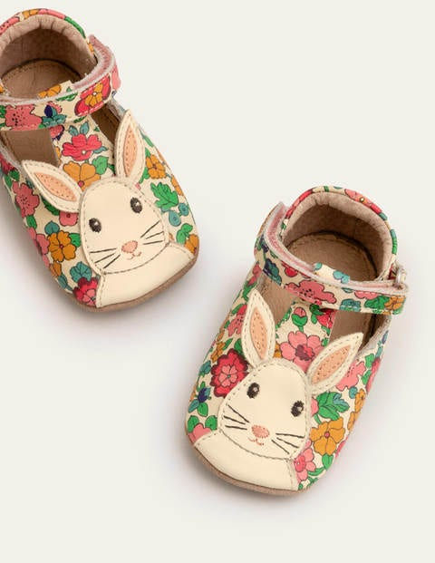 Novelty Leather Shoes - Multi Vintage Floral Bunnies