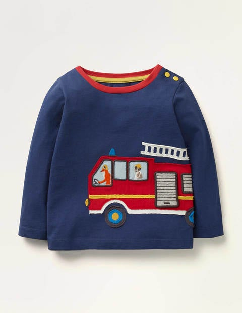 Transport Appliqué T-shirt - Beacon Blue Fire Engine