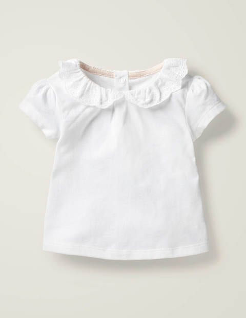 Broderie Collar T-shirt - White Broderie
