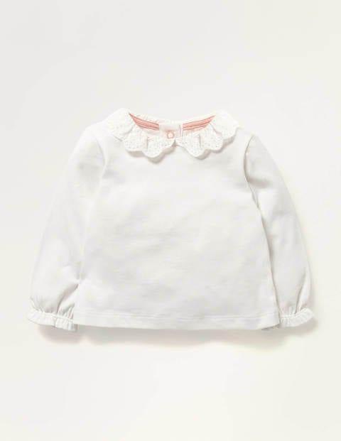 T-Shirt mit Lochstickerei am Kragen
