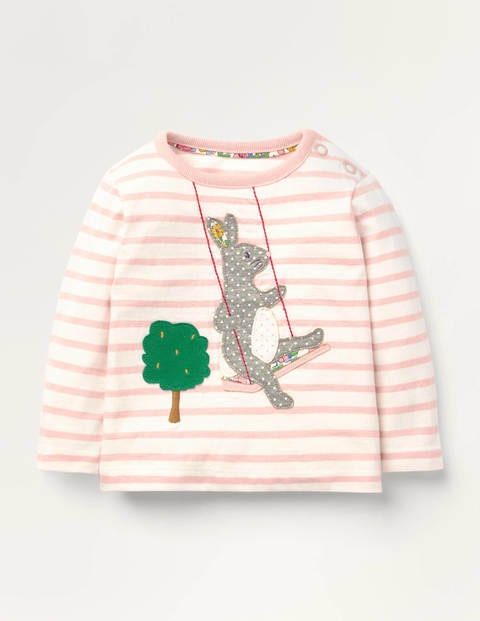 Animal Appliqué T-shirt - Boto Pink/Ivory Bunny