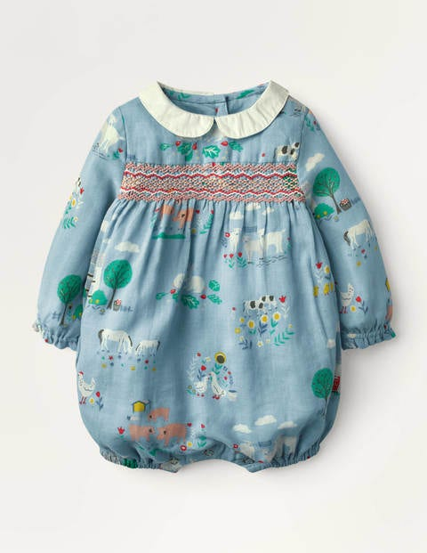 Smocked Romper - Baby Blue Farmhouse