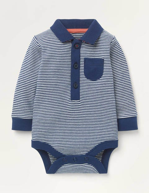 Stripy Polo Body - Ivory/Starboard Navy