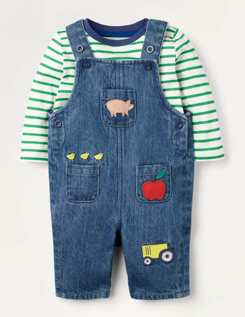 Denim Dungaree Play Set - Mid Chambray