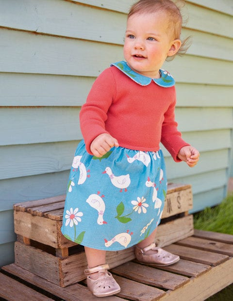 Knitted Collared Dress - Baby Blue Daisy Duck