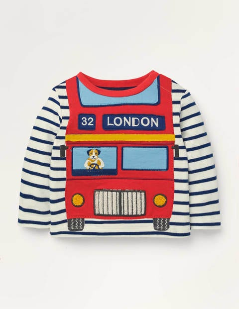 Vehicle Appliqué T-shirt - Ivory/Starboard Blue Bus
