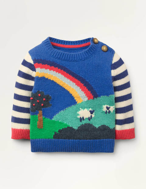 Fun Knitted Jumper - Elizabethan Blue Scene