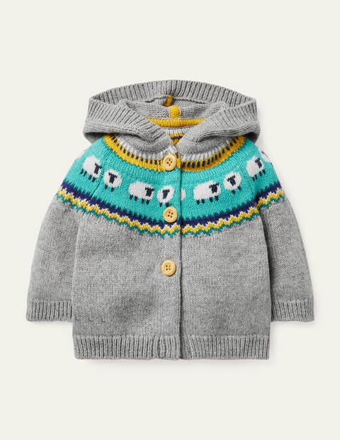 Fair Isle Knitted Jacket - Grey Marl Fair Isle