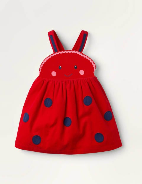 Cord Ladybird Pinnie - Pale Red Ladybird