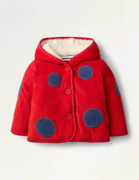 Cord Appliqué Coat - Pale Red Ladybug
