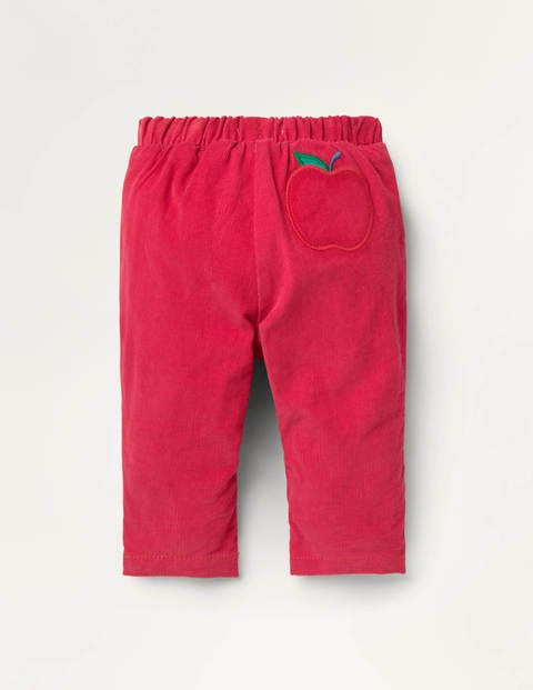 Jersey-lined Cord Pants - Cherry Tomato Red Apples
