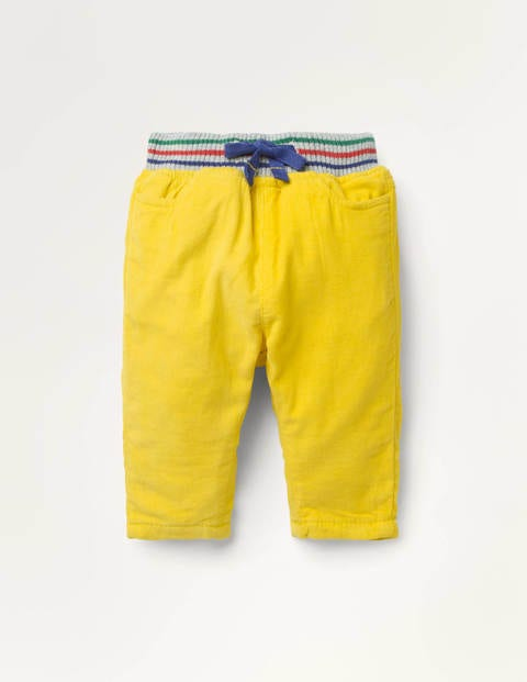 Rib Waist Lined Cord Trousers - Honeycomb Yellow