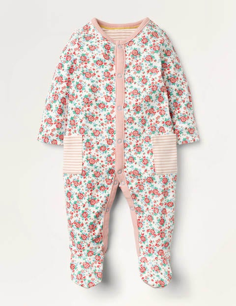 Supersoft Printed Sleepsuit - Ivory Baby Vintage Posy