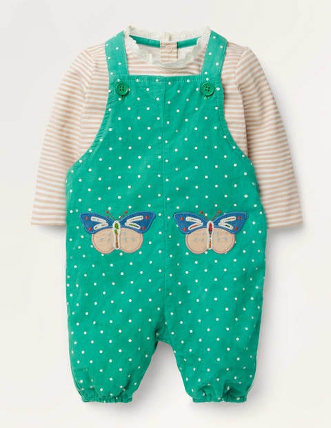 Appliqué Patch Dungaree Set - Asparagus Green Butterfly