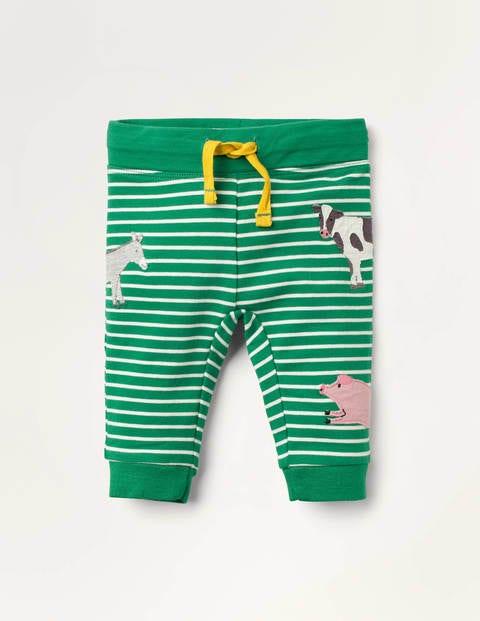 Appliqué Patch Jersey Bottoms - Highland Green/Ivory Animals