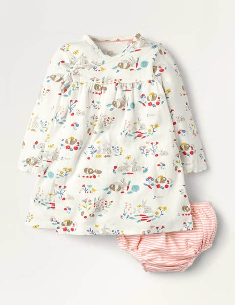 Newborn Jersey Wrap Dress - Multi Meadow Friends