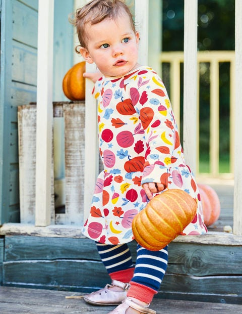 Cosy Printed Sweatshirt Dress - Orange Baby Harvest