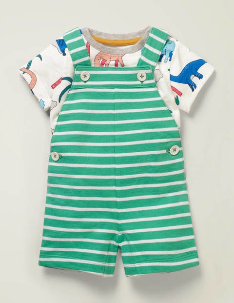 Summer Jersey Dungaree Set - Asparagus/White