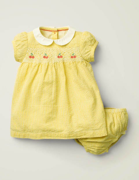 Nostalgic Smocked Dress - Daffodil Yellow Ticking Floral