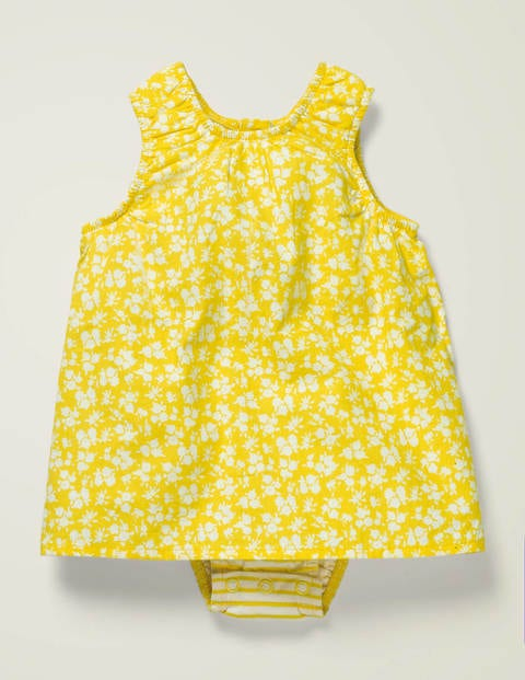Floral Printed 2-In-1 Dress - Daffodil Yellow Vintage Floral