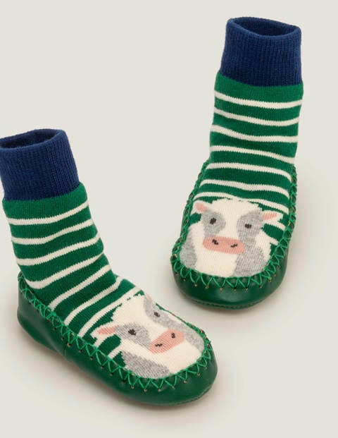 Slipper Socks - Eden Green/Ivory